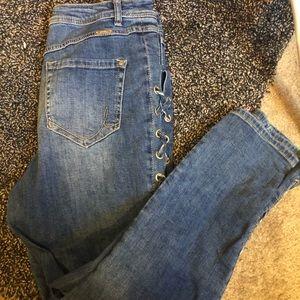 INC women's side lace denim jeans
